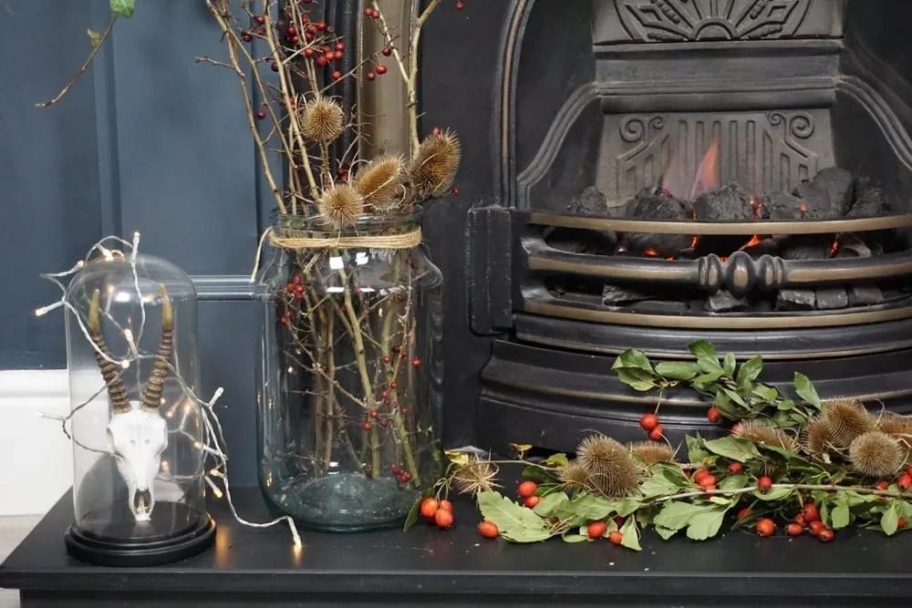 Eco fireplace Christmas decorating idea