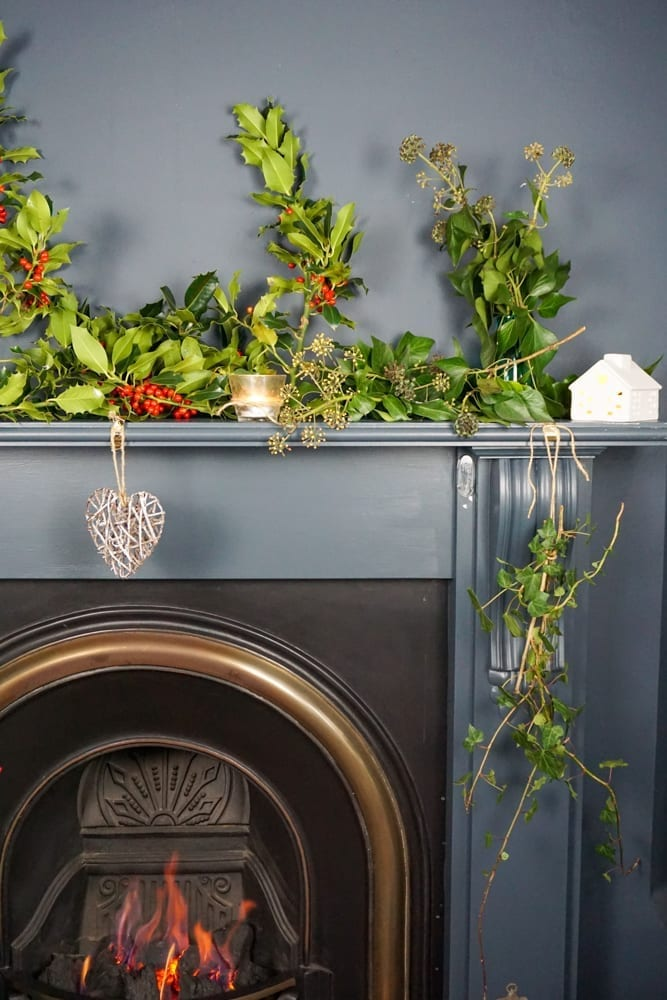 Eco fireplace Christmas decorating idea