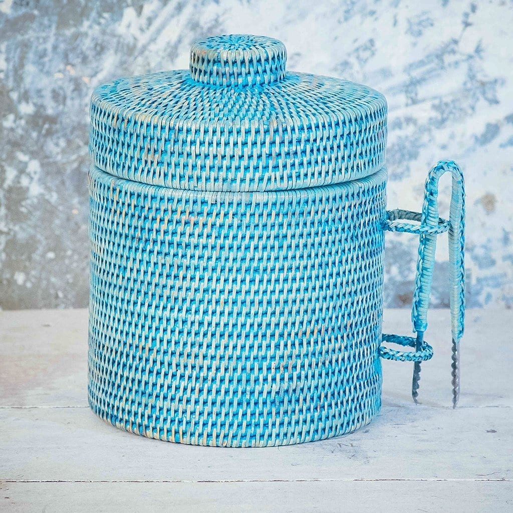 Rattan blue ice bucket
