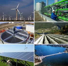ARCHIV - Die Bildkombo zeigt verschiedene alternative Energieformen. Zu sehen sind: Windturbinen in Dabancheng in China (Archivfoto vom 18.08.2010 - o.l.), eine Biogasanlage der Verbio AG im brandenburgischen Schwedt (Archivfoto vom 02.03.2011 - o.r.), ein Erdwärmekraftwerk im mecklenburgischen Neustadt-Glewe (Kreis Ludwigslust) (Archivfoto vom 12.11.2003 - M.l.), das Pumpspeicherwerk Hohenwarte II im Saaletal (Archivfoto vom 10.08.2004 - M.r.), ein Windrad und eine Photovoltaikanlage auf der Insel Pellworm (Archivfoto vom 02.05.2008 - u.l.) und ein Gezeitenkraftwerk in der Rance-Mündung bei St. Malo (Archivfoto vom 08.1976). Erneuerbare Energiewerte, speziell Solartitel, haben am Montag (15.03.2011) an der Frankfurter Börse als Folge der Erdbeben- und Nuklearkatastrophe in Japan kräftig zugelegt. Im frühen Handel stiegen einige Titel der Branche mit hohen zweistelligen prozentualen Zuschlägen. Fotos: Söhnke Möhl/Jan-Peter Kasper/Jens Büttner/Patrick Pleul dpa  +++(c) dpa - Bildfunk+++