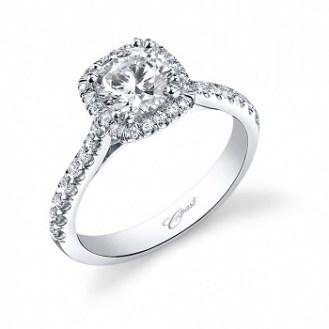 Coast Diamond cusion shaped halo engagement ring LC5256