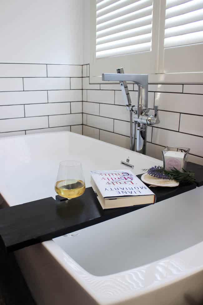 Build Your Own Bath Table With Wine Glass Holders