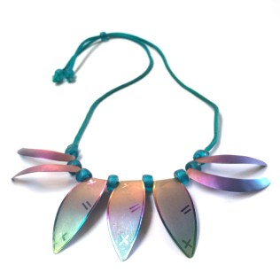 1981: Clarissa. Necklace - Niobium & Silk