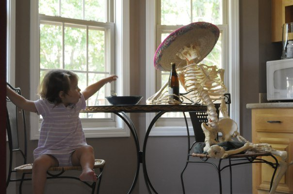 """Dave has this skeleton for a shoot he's doing. Julia didn't bat an eye at her """"lunch mate"""", except to get a little mad that he was in her usual seat."""