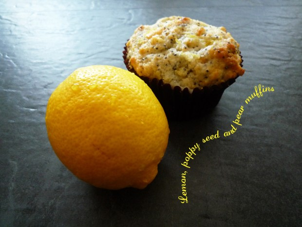 Lemon, poppy seed & pear muffins