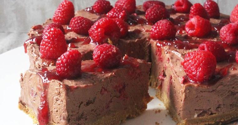 Gluten free chocolate raspberry cheesecake