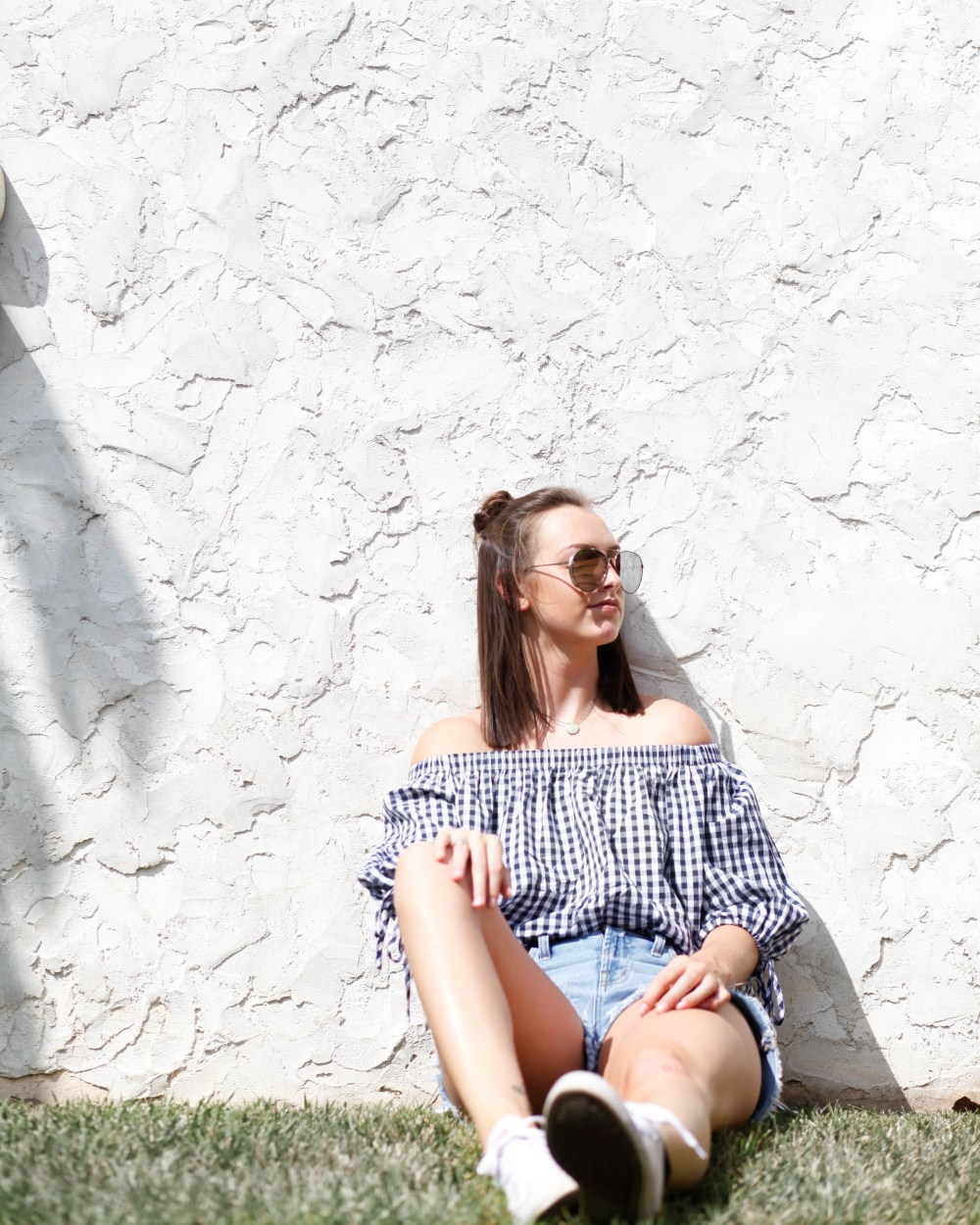 summer romwe off the shoulder gingham top