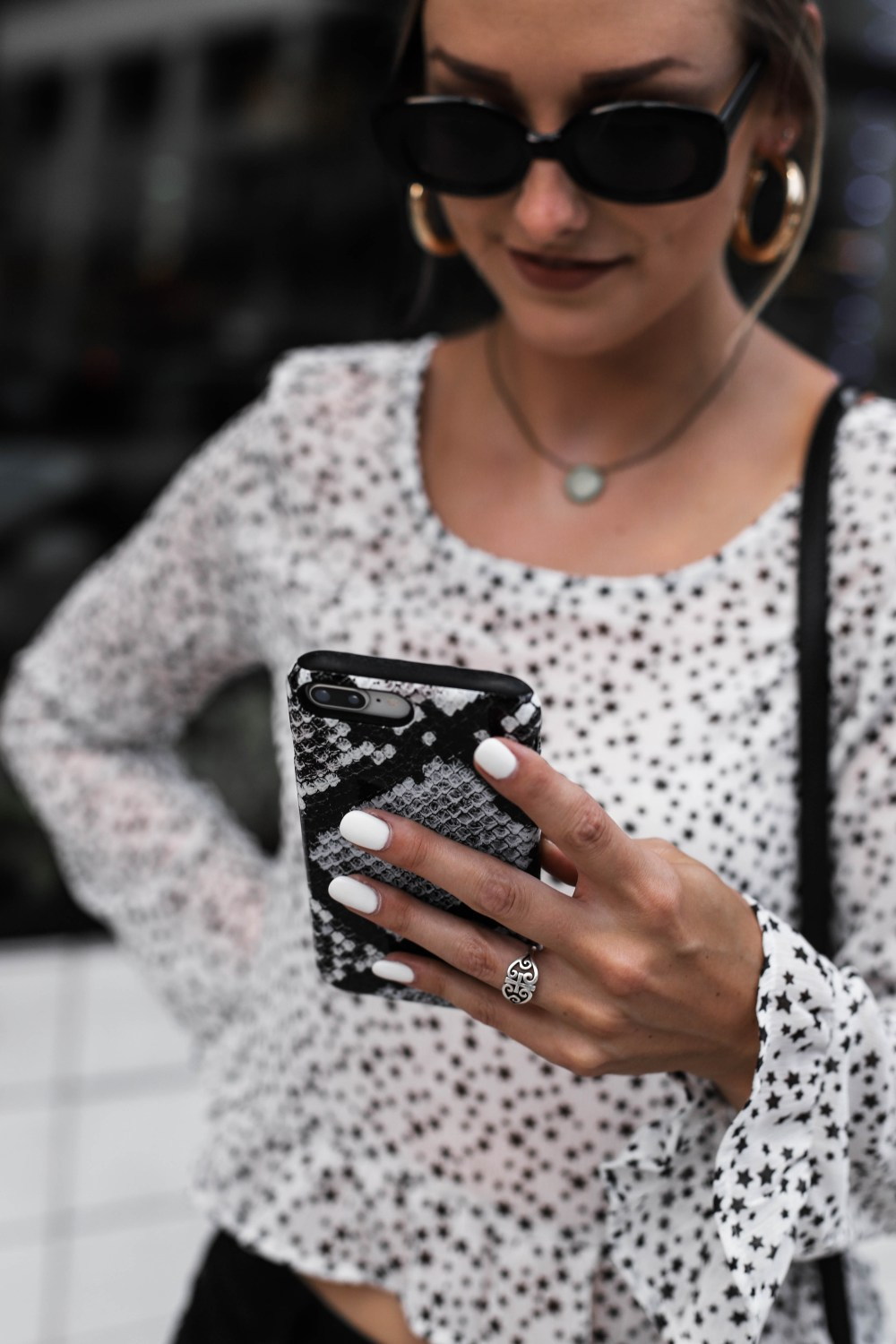 wild fable star top target black and white burga phone case white nails