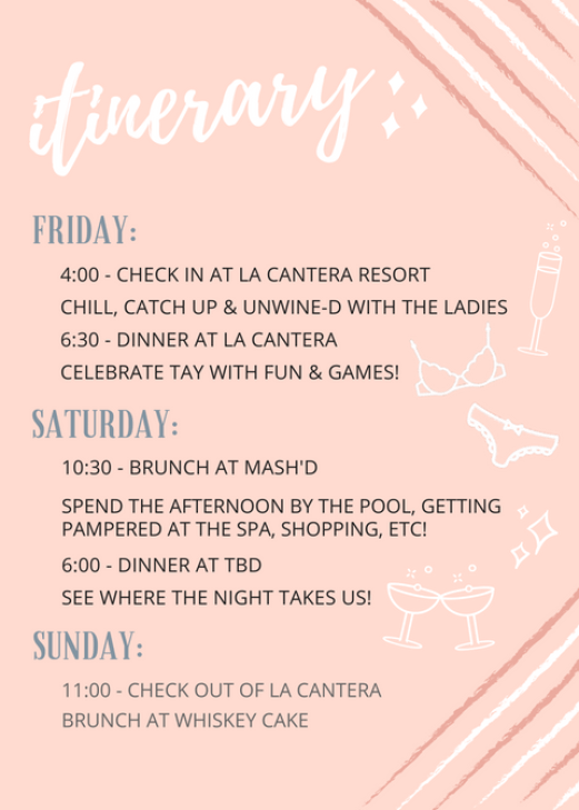san antonio bachelorette weekend itinerary template