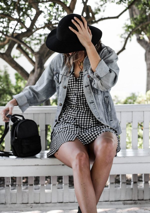 gingham spring dress hm black and white outfit
