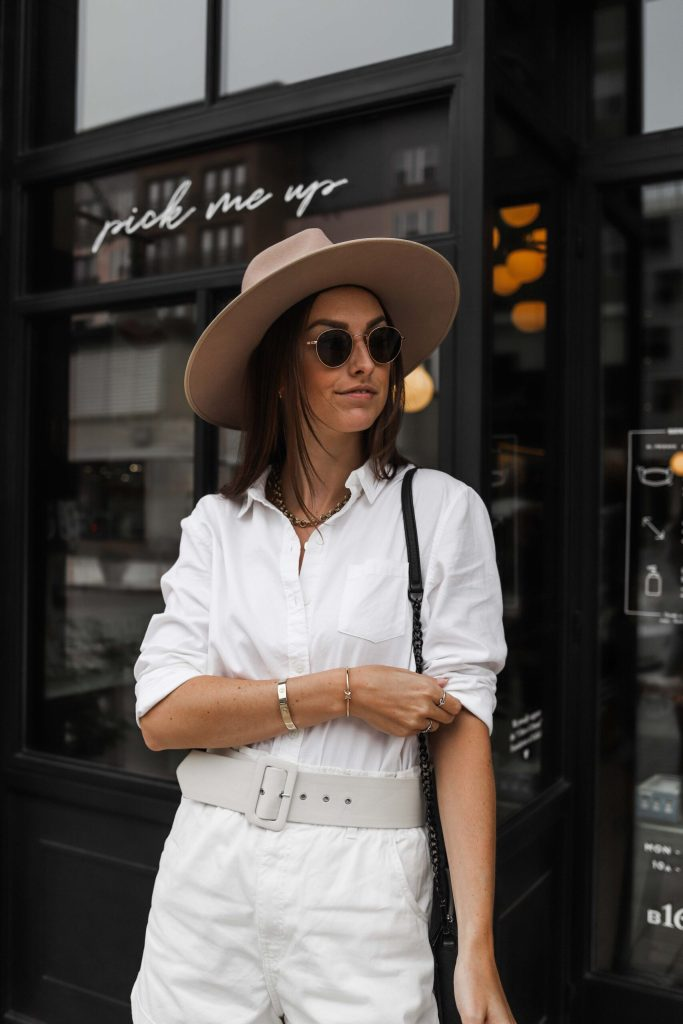 close up photo of all white outfit for fall