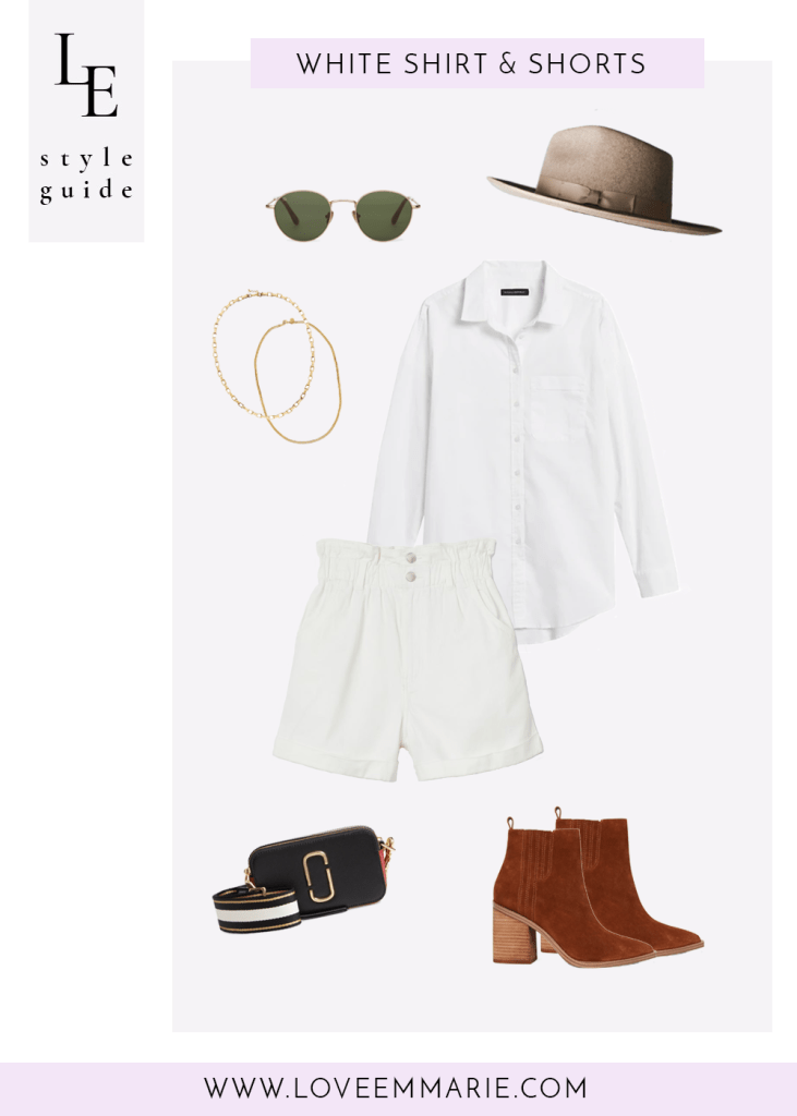 casual outfit white button down white shorts tan suede boots black crossbody