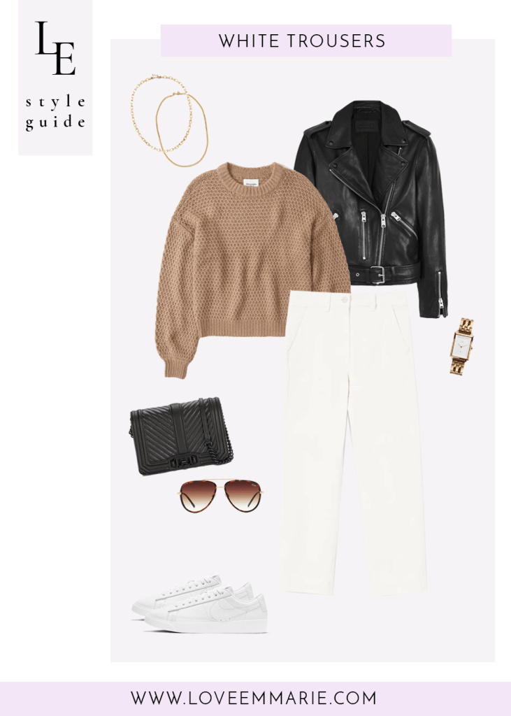 casual outfit with white trousers camel sweater black leather jacket sneakers