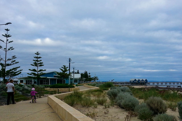 Riding a bike along the path at Busselton foreshore
