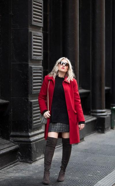 red coat, otk boots