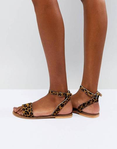 FREJA Leather Studded Flat Sandals