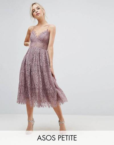 Petite ASOS PETITE Lace Cami Midi Prom Dress