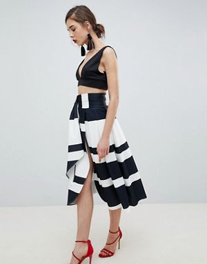 scuba wrap prom skirt with split and tie waist in stripe