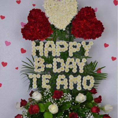 HAPPY BDAY TE AMO Flower Arrangement