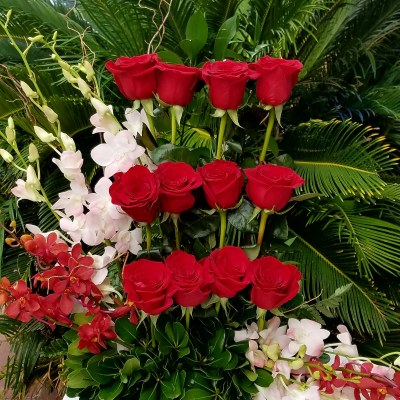Red Roses & Dendrobium Orchids