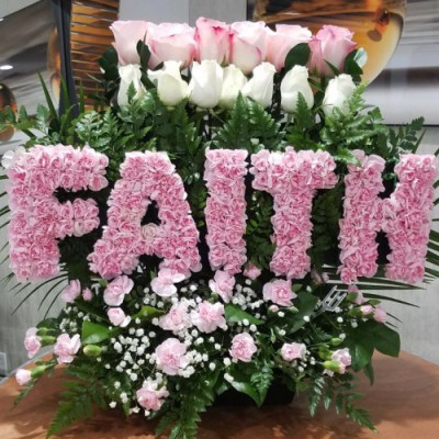 """""""FAITH"""" Flower Arrangement W/white And Pink Roses"""