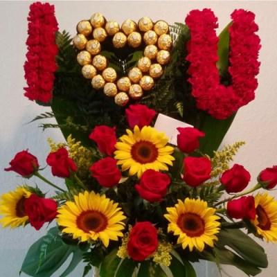 """I Love U""  Flower Arrangement With Chocolates"