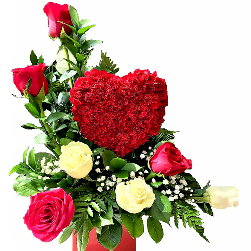 Cute Heart With Red And White Roses