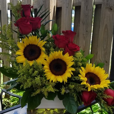 Sun Flower & Roses