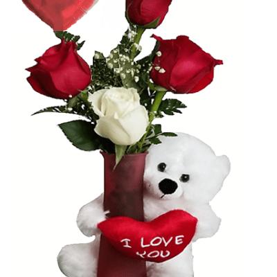 Bear, Balloon & Roses