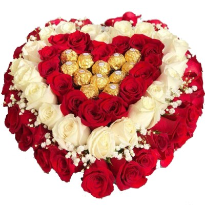 Luxury Heart With 50 Roses & Bombons