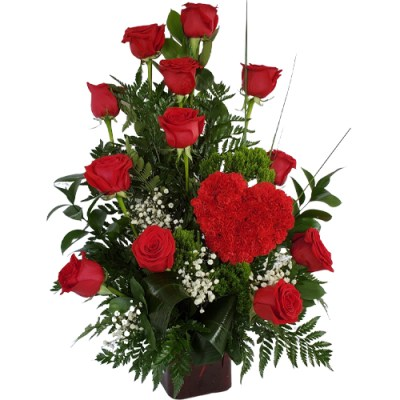 Beautiful Red Heart With Red Roses