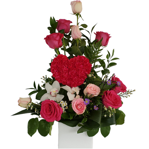 Festive Pink Heart Birthday Flowers