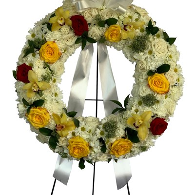 Red And Yellow Roses Condolence Wreath