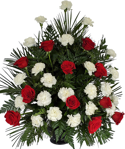 Funeral Basket White & Red