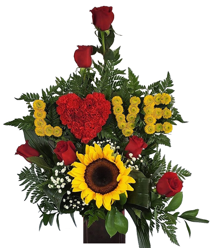 LOVE- Sunflowers And Roses Love Flowers