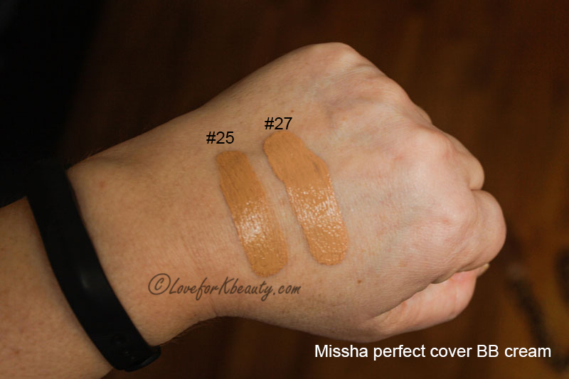 Swatches Missha perfect cover BB cream 25 and 27