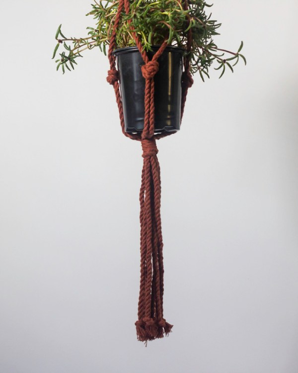 Bluefields Macrame Plant Holder Tile Red Made in Nicaragua