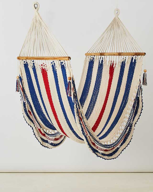 Macrame Double Hammock White Red Blue Made in Nicaragua