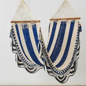 Macrame Double Hammock Khaki White Blue Made in Nicaragua