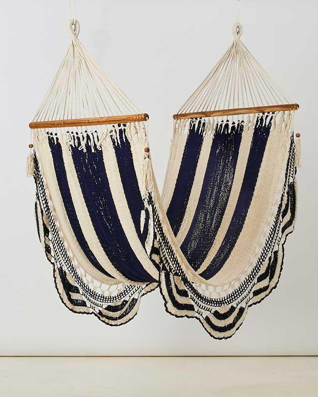 Macrame Double Hammock Khaki White Navy Made in Nicaragua