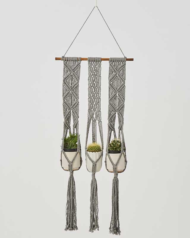 Leon Macrame Plant Holder Gray Made in Nicaragua