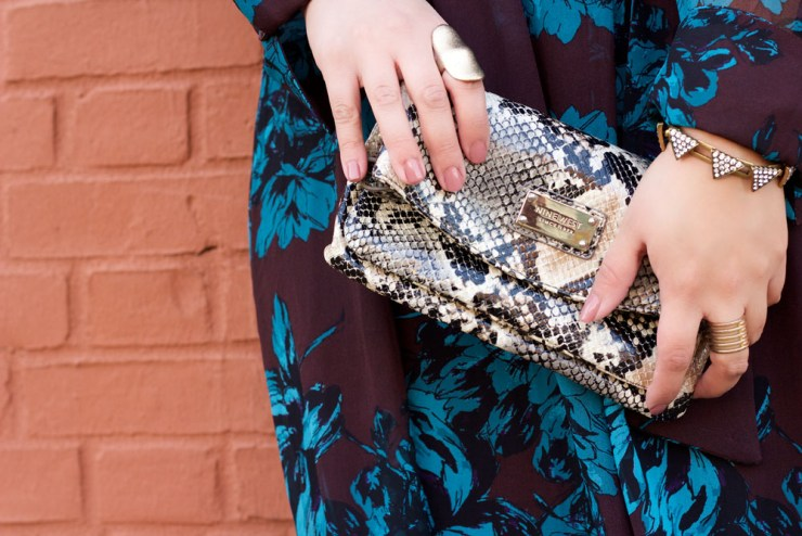 floral-dress-snakeskin-clutch
