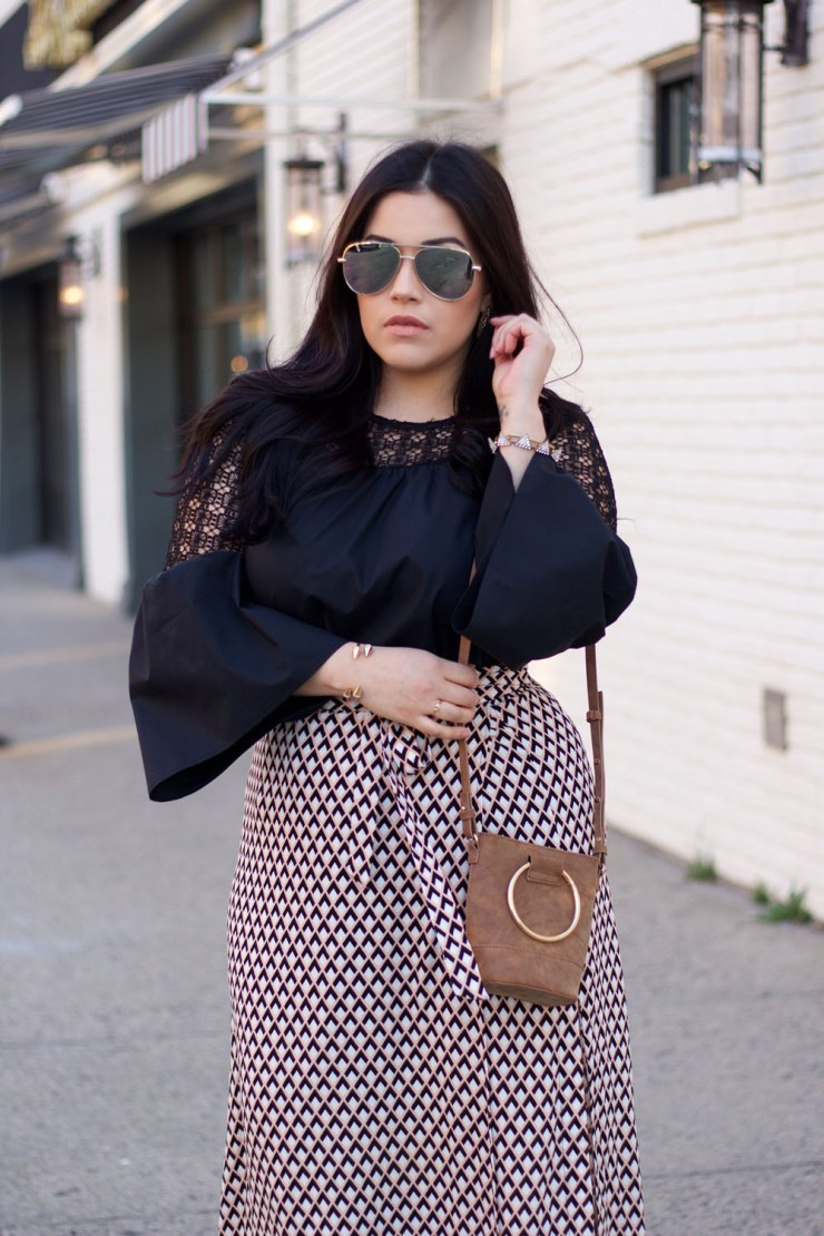 Wrap-Skirt-Bell-Sleeve-Blouse