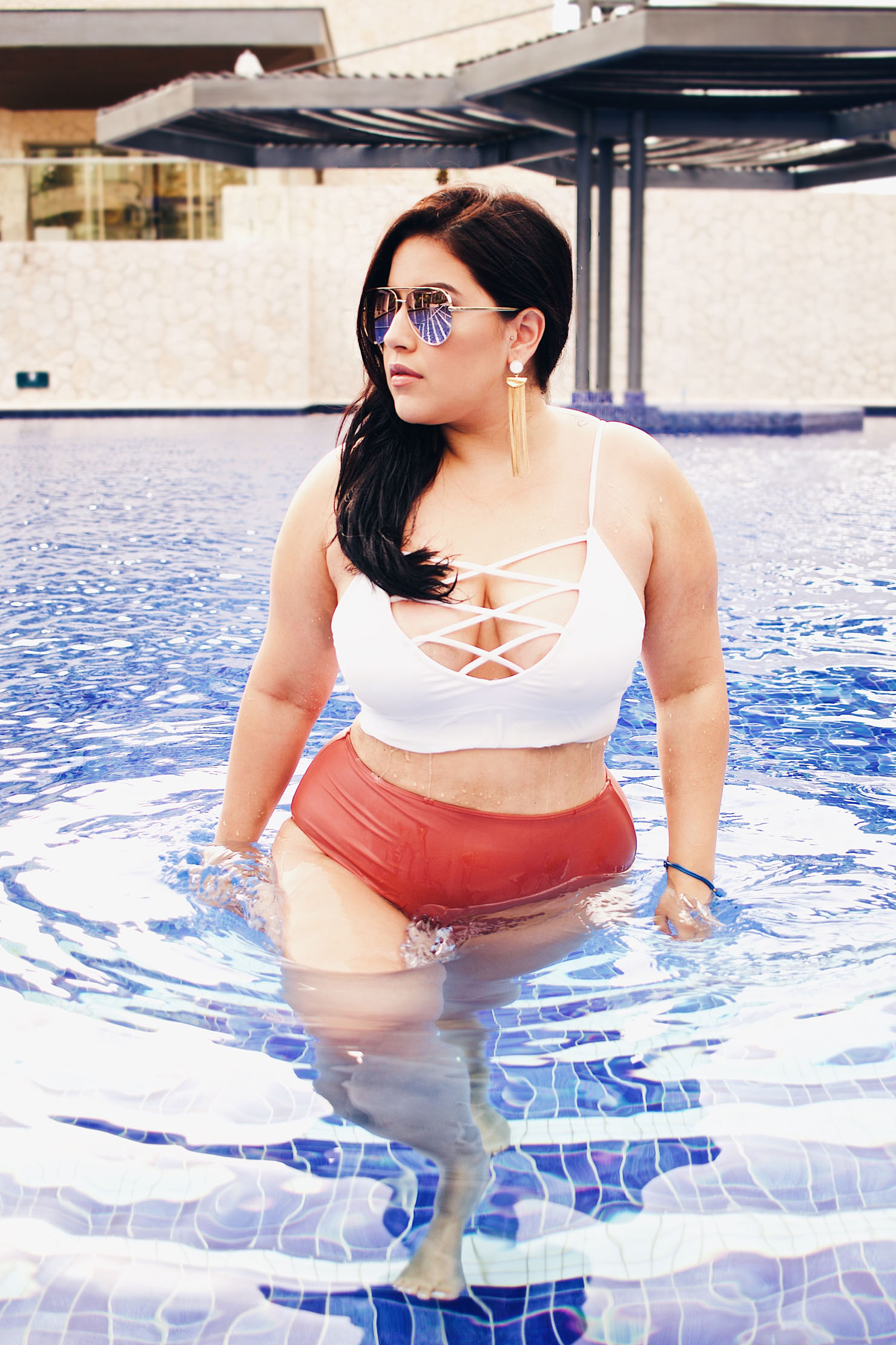 Consider, Latina in bikini by a pool agree