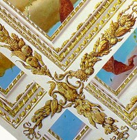 Trompe l'oeil Tiepolo ceiling with gilded deep coffered ...