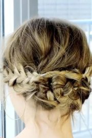 braided updo with messy touch