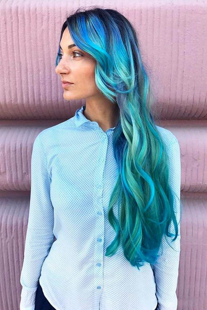 Azure and Turquoise Highlights on Long Hair