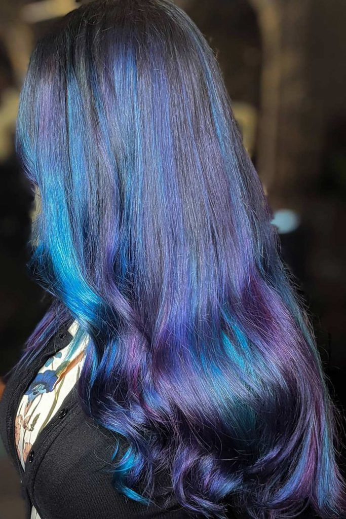 Blue and Purple Highlights on Long Black Hair