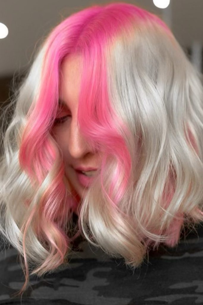 Pink Highlights with Platinum Blonde Bob
