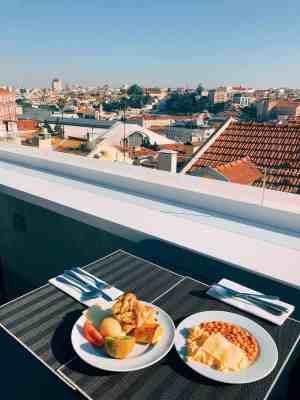 Rooftop views from breakfast at the Lisboa Pessoa Hotel in Lisbon